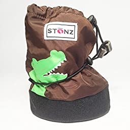 Stonz Three Season STAY-On Baby Booties, For Bare Feet or Shoes, For Mild or Cold Snow Weather, Crocodile - Brown Small