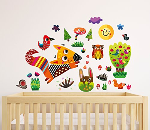 witty-doodle-forest-woodland-top-quality-repositionable-stickers-baby-nursery-wall-decals-decor-for-