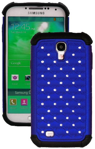 """Mylife (Tm) Royal Blue And Black - Diamond Bling Design (2 Piece Hybrid Bumper) Hard And Soft Case For The Samsung Galaxy S4 """"Fits Models: I9500, I9505, Sph-L720, Galaxy S Iv, Sgh-I337, Sch-I545, Sgh-M919, Sch-R970 And Galaxy S4 Lte-A Touch Phone"""" (Fitted"""