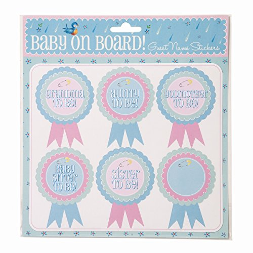 Baby Shower Named Rosette Stickers, Set of 18