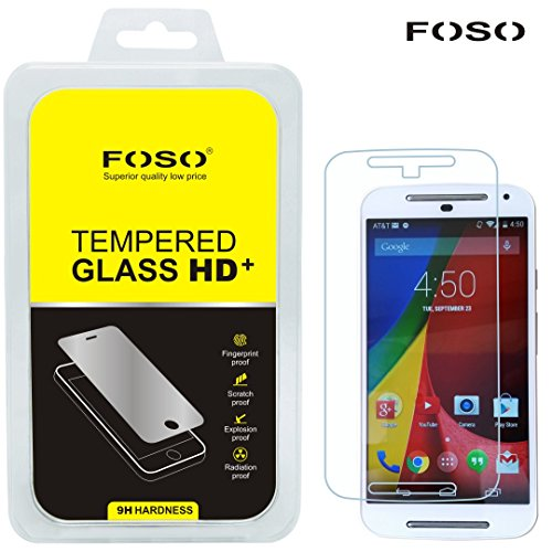 for Moto G2 (2nd Generation)2.5D Curved Edge FOSO(TM) 9H Hardness Toughened Tempered Glass Screen Guard Protector (99.99% Transparency), Increase resale value of your phone