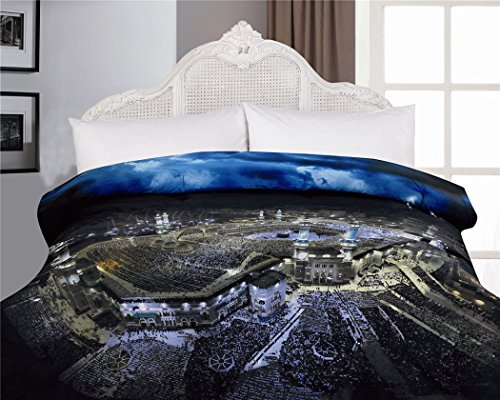 1-Piece Ancient City Light Printed Microfiber Comforter Full Size