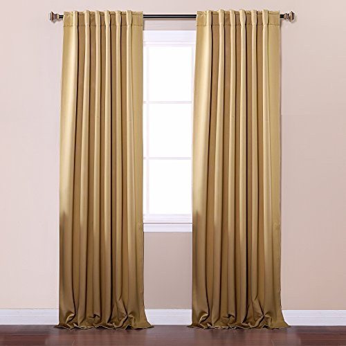 Best Home Fashion Thermal Insulated Blackout Curtains - Back Tab/ Rod Pocket - Wheat - 52