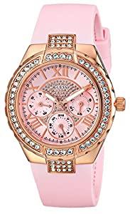 GUESS Women's U0300L3 Mid-Size Multi-Function Pink Silicone Watch with Rose Gold-Tone Case & Genuine Crystal Accents