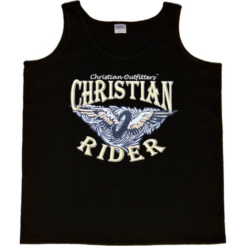 WOMENS TANK TOP : BLACK - LARGE - Christian Outfitters - Christian Rider - Biker Inspirational