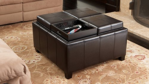 Harley Leather Espresso Tray Top Storage Ottoman (Dark Espresso Ottoman compare prices)