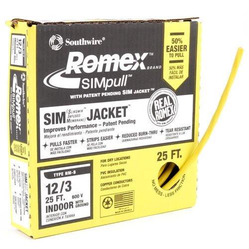 Romex Building Wire, Nm-B 12/3 25'