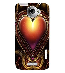 ColourCraft Love Heart Design Back Case Cover for HTC ONE X