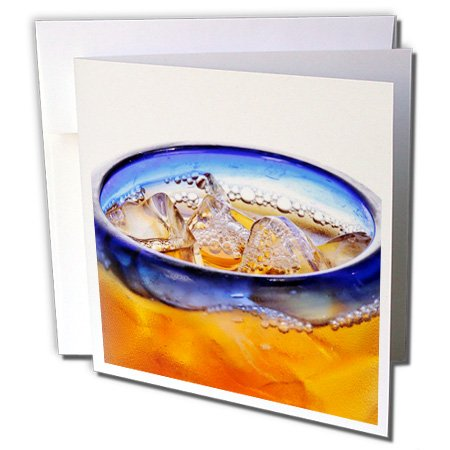 Danita Delimont - Matt Freedman - Drinks - Close-Up Of Glass Of Iced Tea With Blue Rim On White Background. - 12 Greeting Cards With Envelopes (Gc_189057_2)
