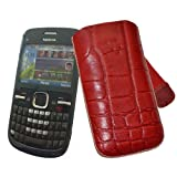 Suncase - Funda de cuero para Nokia C3-00, color rojo con relieve