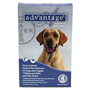 Advantage Flea Control for Dogs, 55+ lbs Blue, 4 Month