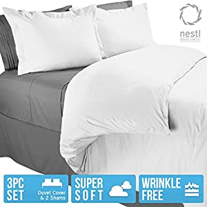 Nestl Bedding Duvet Cover, Protects and Covers your Comforter / Duvet Insert, Luxury 100% Super Soft Microfiber, King Size, Color White, 3 Piece Duvet Cover Set Includes 2 Pillow Shams