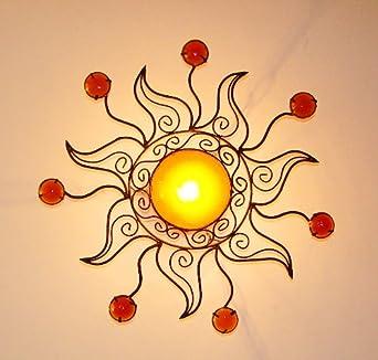 lustre plafonnier marocain soleil orange en fer forg applique lampe bougeoir. Black Bedroom Furniture Sets. Home Design Ideas