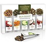 Tea Forte SKIN-SMART Single Steeps Loose Leaf Tea Sampler, 15 Single Serve Pouches - Skin Detox Teas
