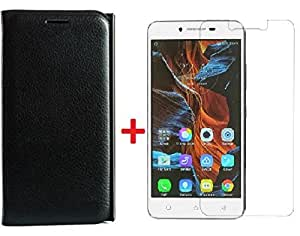 Sun Tigers(combo offer) Premium Luxury PU Leather Flip Back Case Cover for Motorola Moto G4 Plus / G 4th Gen+ free Tempered Glass Screen Protector (BLACK)