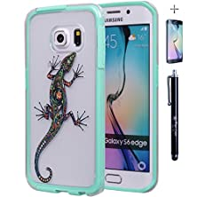 buy Samsung Galaxy S6 Edge Case, True Color® Gecko Lizard Tattoo Design On Clear Transparent Hybrid Cover Hard +Soft Slim Thin Durable Protective Shockproof Tpu Bumper +Stylus &Screen Protector Mint Green
