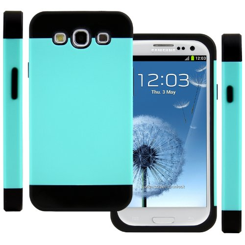 Celljoy Hybrid Tpu 2Pc Layered Hard Case Rubber Bumper For Samsung Galaxy S3 Siii (At&T / Verizon / Us Cellular / Sprint / T-Mobile / Unlocked) [Celljoy Retail Packaging] (Turquoise / Black)