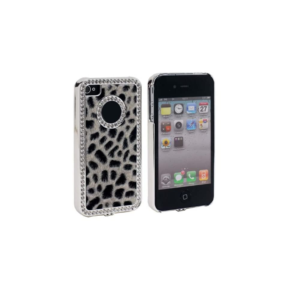 niceEshop(TM) Black Luxury Bling Leopard Diamond Rhinestone Hard cover case fit for iPhone4 4G 4S+Screen Protector Cell Phones & Accessories