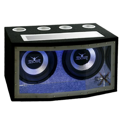 Absolute Bpw212N Dual 12-Inch Subwoofer Bandpass Enclosure With Blue Neon Lights 1200 Watts Maximum Power