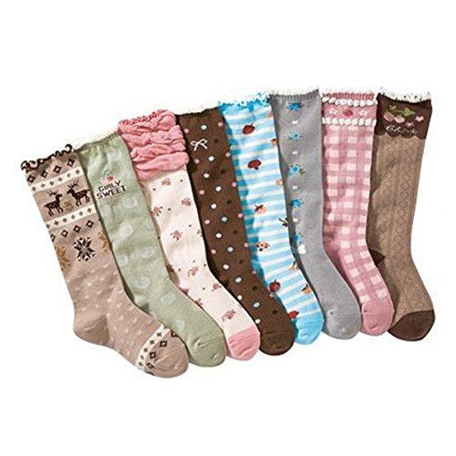Deer Mum 8 Pairs Girl'S Princess Style Knee High Socks (Pack 8)-Multicolor2 (M(7Y-12Y)) front-808202