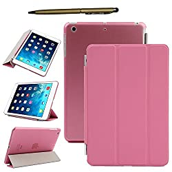 Elite Ultra Thin Smart Flip Foldable Flip Case cover for Apple iPad Mini 1 , mini 2 , mini 3 Retina Tablet with stylus (Sleep/wakeup) (Pink)