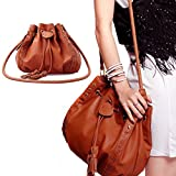 Vktech Women Fashion Tassel Drawnstring Tote Purse Single-Shoulder Bag PU Leather