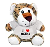 Plush Tiger Toy with I Love Heike t-shirt (first name/surname/nickname)