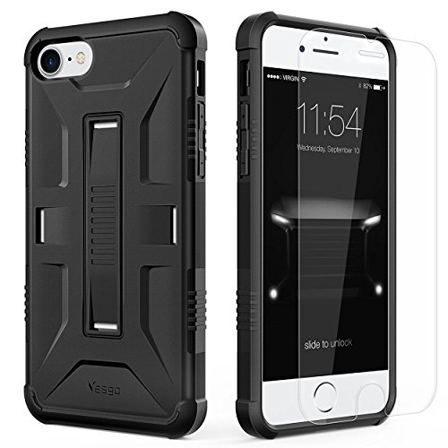 iPhone 7 Case, Slim Military Shockproof Protective Cover Kit with [Tempered Glass Screen Protector] Heavy Duty Hybrid Rugged Case Non-slip Grip Ultra Hard Cover Shell for Apple iPhone7-Black