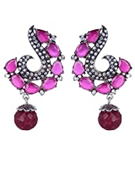 Gehnashop Classic Red Stone Combined With CZ And Black Rodium Earrings For Women