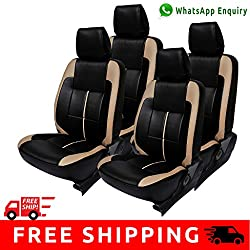 Autofact Brand (Economical Range) PU Leatherite Car Seat Covers for Maruti Car 800 Old Model in Black with Beige