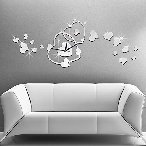Life-Up-3D-Wanduhr-Modern-Herzen-Silber-DIY-Kreatives-Design-Gro-Dekoration-Uhr-Deko-Wandtattoo-ffentliche-Pltze-Wohnzimmer-Bro-Studierzimmer