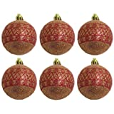 DollsofIndia Silver, Golden And Red Bells With Chains And A Set Of Six Red Balls For Christmas Tree Decoration...