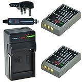 ChiliPower Olympus PS-BLS5, PS-BLS50, BLS-5, BLS-50 Kit: 2x Battery (1300mAh) + Charger (UK Plug) for Olympus OM-D E-M10, PEN E-PL2, E-PL5, E-PL6, E-PL7, E-PM2, Stylus 1