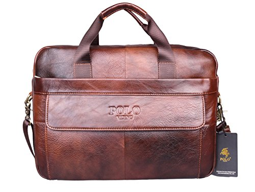 VIDENG POLO® Hotest Men's Top Genuine Leather Handmade Briefcase Shoulder Messenger Business Bag From Italy Design (CP-Wild Brown) (Messenger Bag Custom compare prices)