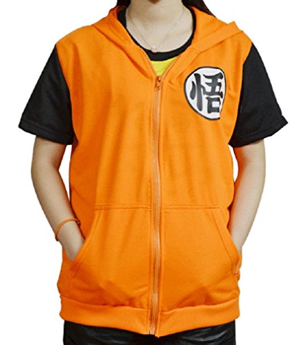 CNS DragonBall GOKU style [ Hooded Costume ] Japanese Anime (L, GO ShortSleeve) (Goku Costume Adult)