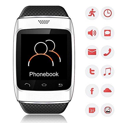 Bellstone 240×240 1.54インチ 静電容量式タッチスクリーン搭載 メンズ・レディース 兼用 多機能ブルートゥース スマートウォッチ smart watch タッチスクリーン Bluetooth 腕時計ブレスレット ハンズフリー通話・音楽プレーヤー・着信知らせ・時刻表示・置き忘れ防止・録音・目覚しい時計・万歩計多機能腕時計機能付き!iPhone4 5 5S 5C 6、HTC ONE M8 Galaxy S5 S4 などのAndroid、iPhoneに対応可! (ホワイト)