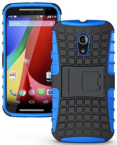 Flip Kick Stand Dual Armour Back Case Cover For Motorola Moto G2 Moto G 2nd Gen XT1068 - Blue