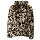 Brave Soul - Manteau d'hiver avec Capuche pour Femme Imitation Fourrure Peaux de Léopard Neuf * CAANI* - Leopard, UK 14 - EU 42