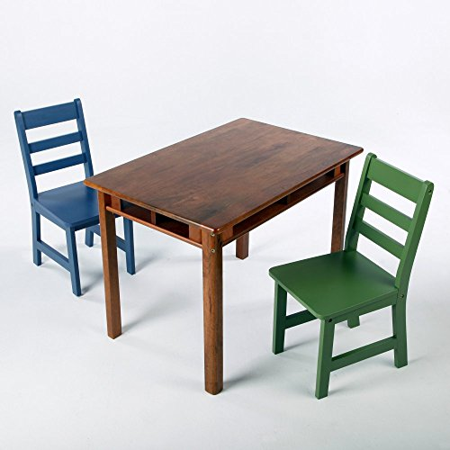 Lipper Lipper Childrens Rectangle Table And 2 Chair Set, Walnut, Wood