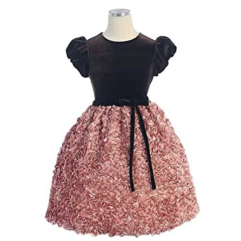 Sweet Kids Girls Size 12 Chocolate Velvet Ruched Christmas Dress