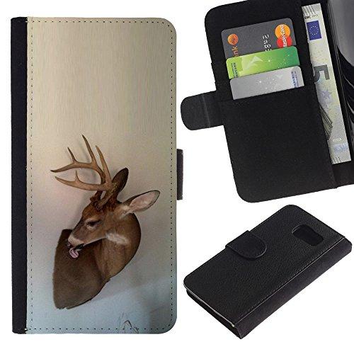 Antlers Beige Natura Primavera animale - Portafoglio in pelle della Carta di Credito fessure PU Holster Cover in pelle case Per Samsung Galaxy S6