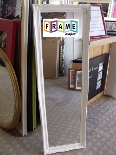 FULL LENGTH WHITE Dressing / Hall Mirror complete with Premium Quality Pilkington's Glass - Overall Size: 16 inches x 49 inches (40cm x 124cm)