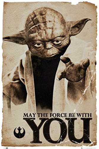 "1art1 66114 - Poster Star Wars Yoda ""May the Force be with you"", 91 x 61 cm"
