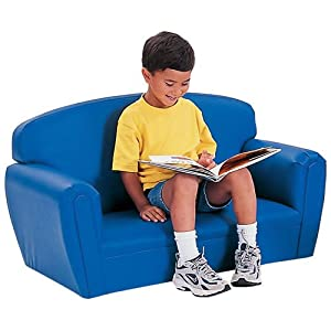 Child Size Modern Upholstered Couch - Blue by Kaplan Early Learning Company