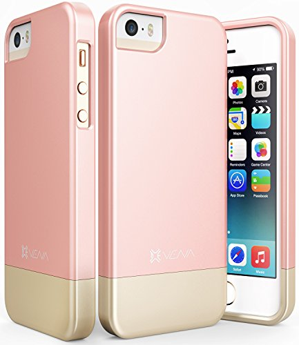 iPhone SE Case, Vena [iSlide][Two-Tone] Dock-Friendly Slim Fit Hard Case Cover for Apple iPhone SE / 5s / 5 (Rose Gold/Champagne Gold) (Pretty Iphone 5s Cas compare prices)
