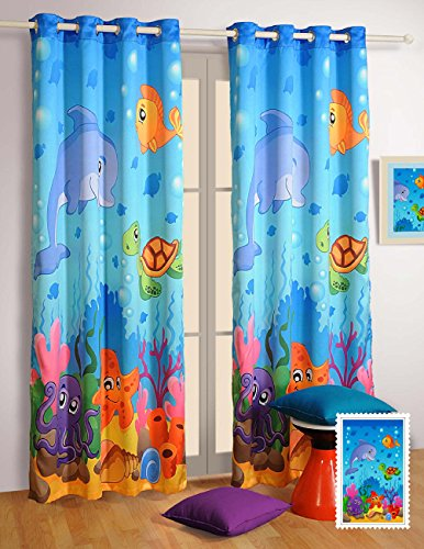 """Water World Window Curtains - Set of 2 Curtain Panels for a Baby Nursery or Toddler or Kids Bedroom - 48"""" x 60"""" panels - Blackout Poly Satin Fabric"""