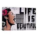 iCanvasART Life is Beautiful by Banksy Canvas Art Print, 40 by 26-Inch