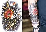 【タトゥーシール】 大きめサイズ☆金の鯉、蓮の花☆ 防水 刺青 入れ墨