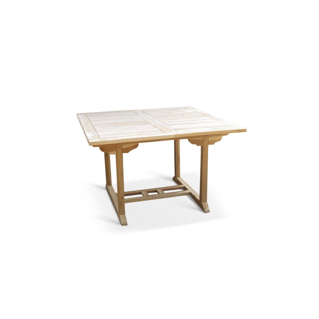 SAM® Teak-Holz Gartentisch, Balkontisch Madera, 120 - 170 x 120 cm, massiver, ausziehbarer Holztisch, ideal für Ihren Balkon oder Garten