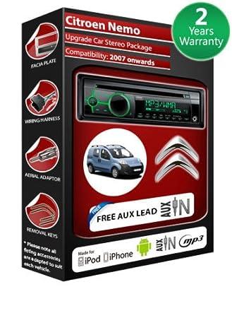 Citroen Nemo de lecteur CD et stéréo de voiture avec radio Clarion CZ102EG AUX avant